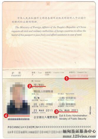 缅甸签证护照模板