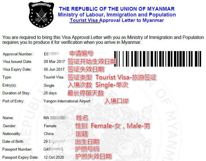 缅甸电子签证样本及解释说明