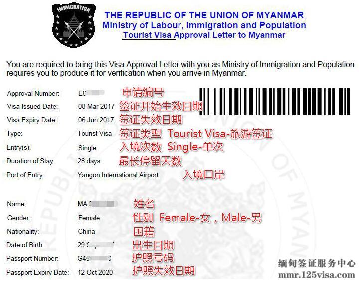 缅甸电子签证页样图