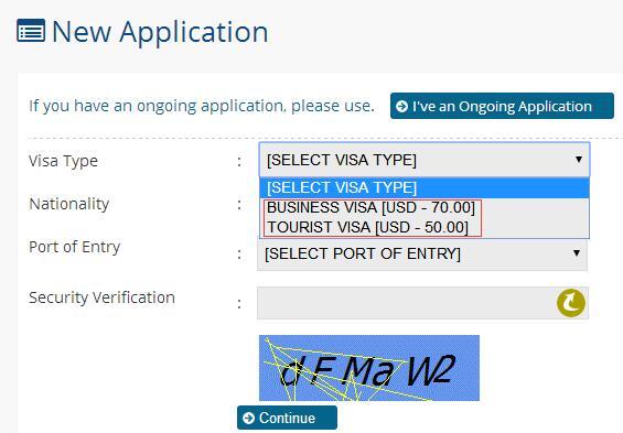 缅甸电子签证申请首页面
