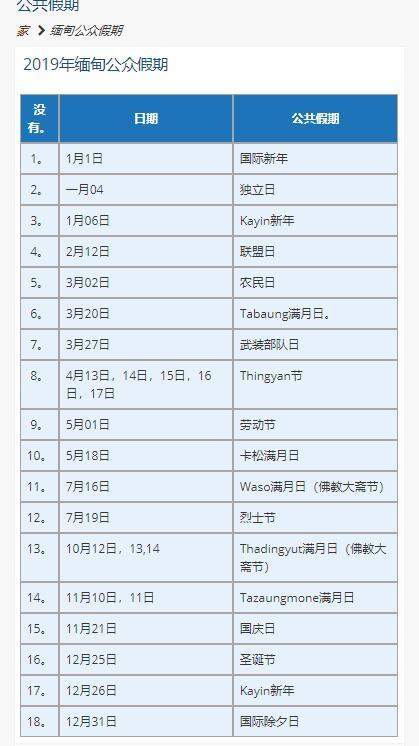 2019年缅甸大使馆放假时间表