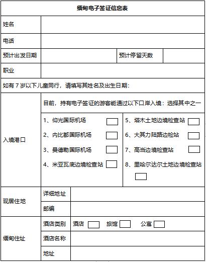缅甸电子签证个人信息表模板